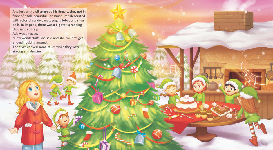 "Carte de povești ""Ada, the freckled elf and Santa Claus"""